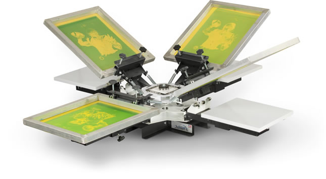 V100-44: 4 Color, 4 Station, Rotary Table Top Screen Printing Press