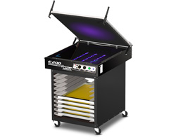 Model UC-1000 utility cart shown with E2-2124 LED exposure unit mounted to top.