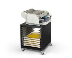 Model UC-1000 utility cart shown with desktop printer.